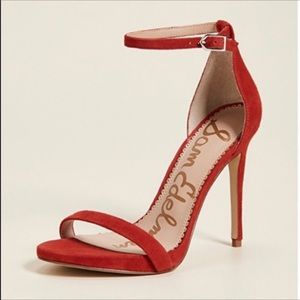 Sam Edelman red suede high heels sandals